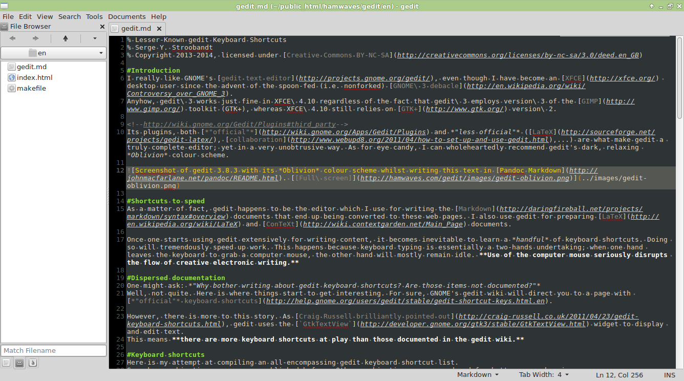 Screenshot Of Gedit 383 With Its Oblivion Colour Scheme Whilst Writing This Text In
