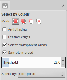 <code>Select by Colour</code>:  This time around, do select <code>Fill transparent areas</code> as well as <code>Sample merged</code>. Again, run a few tries while adjusting <code>Threshold</code> and experiment with <code>Antialiasing</code> and <code>Feather edges</code> for best results. In between, hit\ <code>[Ctrl]+[Z]</code> to undo.