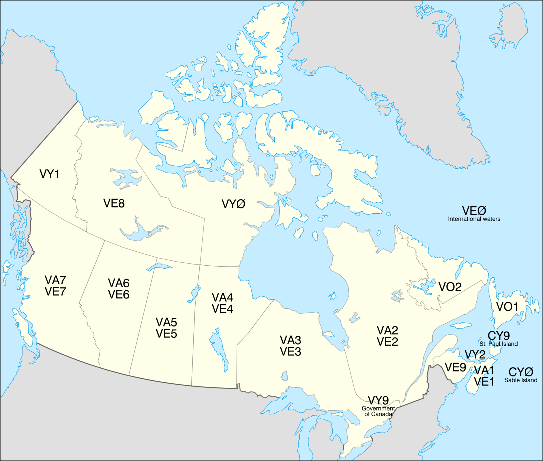 Canadian Prefixes Zones by Province or Territory