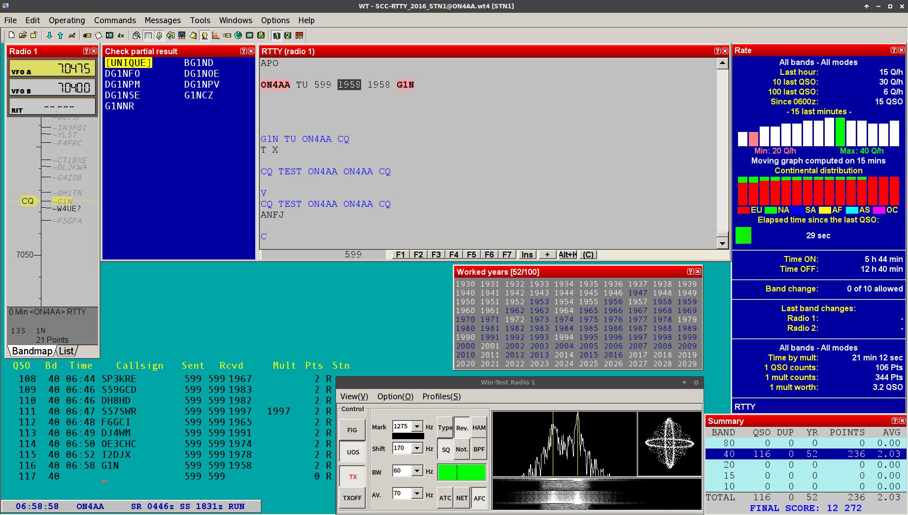 Win Test with MMTTY on my Xubuntu LTS GNU Linux system both running