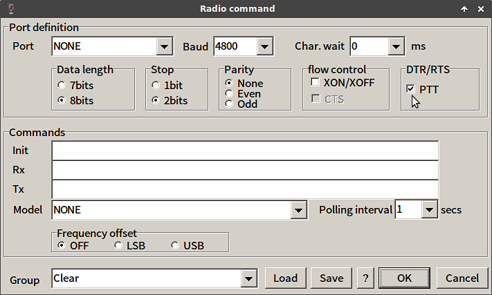 select rts for ptt keying in the mmtty radio command menu